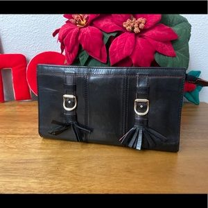 SEE BY CHLOE Black Leather Buckle Pouchette Wallet